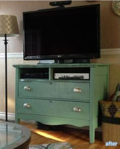 tons of ideas for turning dressers into tv stands- love the idea of hinged drawer fronts to hid consoles