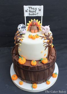 I donated this cake to my Daughters school to be auctioned off. The cake was a lot of fun to make! The best part was all of the money raised from the sale of this cake went right back to HER Teacher! Fondant Cakes, Cupcake Cakes, Cupcakes, Turkey Cake, Cake Recipes, Dessert Recipes, Fall Desserts, Muffins, Thanksgiving Cakes