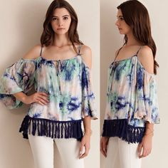 """TIE DYE COLD SHOULDER BELL SLEEVE TOP Tie dye print, cold shoulder, bell sleeve top, featuring tie fringed hem. Adjustable straps. Non- sheer, woven and lightweight. 100% rayon and made in the USA. Color: mint. No trades. SMALL: 19"""" Bust- pit to pit, 25"""" length. MEDIUM: 20"""" Bust- pit to pit, 25"""" length. LARGE: 21"""" Bust- pit to pit, 25"""" length. For more beauties like this, please visit my friend Saundra's closet @saundie @saundie2_plus. Thanks for stopping by @treasuresbytrac Tops"""