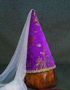 ec59785d4858b Our steeple cone hats or princess hats, are brocade covered canvas with a  nylon veil