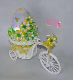 Styrofoam Crafts, Cloth Flowers, Egg Art, Ribbon Work, Hair Ornaments, Easter Crafts, Quilling, Easter Eggs, Embroidery Designs