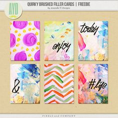 Quality DigiScrap Freebies: Quirky Brushed Filler Cards freebie from Amanda Yi Designs