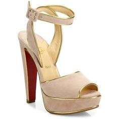 Christian Louboutin Louloudance 140 Metallic-Trim Suede Platform... ($1,095) ❤ liked on Polyvore featuring shoes, sandals, louboutin, heels, loub, ankle wrap sandals, ankle strap platform sandals, high heeled footwear, metallic platform sandals and ankle strap sandals
