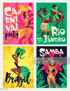 View top-quality illustrations of Brazilian Samba Posters Carnival In Rio De Janeiro Dancers Wearing A Festival Costume Is Dancing Vector Illustration. Find premium, high-resolution illustrative art at Getty Images. Carribean Carnival Costumes, Caribbean Carnival, Rio Carnival Costumes, Carnival Makeup, Brazil Carnival, Trinidad Carnival, Carnival Decorations, Carnival Themes, Vintage Grunge