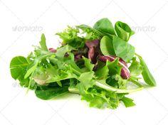 Salad rucola, frisee, radicchio and lamb's lettuce - Stock Photo - Images