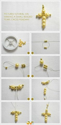 DIY Jewelry : Pictures Tutorial On Making a Small Beaded Pearl Cross Pendant