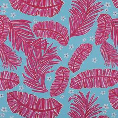 Honeysuckle Pink and Blue Leafy Floral Stretch Cotton Sateen