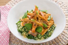 Harissa-Glazed Heirloom Carrot Salad with Date Molasses & Spinach-Almond Couscous Entree Recipes, Veggie Recipes, Salad Recipes, Vegetarian Recipes, Healthy Recipes, Carrot Salad, Eastern Cuisine, Blue Apron, Vegetable Salad