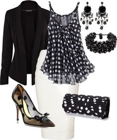 """""""Polka Dots"""" by shakerhaallen ❤ liked on Polyvore. For a more casual look, white capris and black flats."""