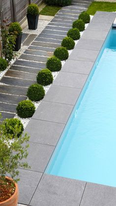 modern pools landscaping / modern pools _ modern pools backyard _ modern pools with spa _ modern pools design _ modern pools landscaping _ modern pools with waterfalls _ modern pools ideas _ modern pools with slide Pool Paving, Swimming Pool Landscaping, Small Backyard Pools, Backyard Patio Designs, Swimming Pool Designs, Backyard Landscaping, Pool Fence, Pool Decks, Small Patio