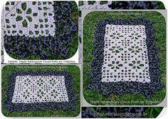 Tapete Cinza-Preto em Trapilhos ou Fio de Malha, Crochet Rag Rug