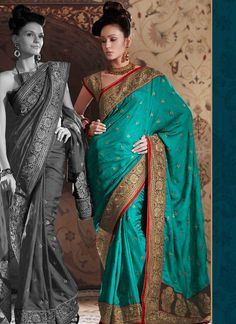 Amazing Teal Dupion Silk Saree