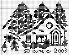 un solo color Cross Stitch House, Cross Stitch Charts, Cross Stitch Designs, Cross Stitch Patterns, Filet Crochet, Crochet Motif, Crochet Patterns, Cross Stitch Freebies, Chart Design