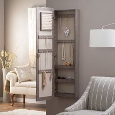 Wall Mounted Locking Mirrored Jewelry Armoire   Driftwood   With Its  Simple, Natural Beauty,
