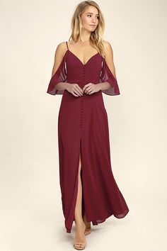 You'll be thankful the You Found Me Wine Red Maxi Dress is yours at last! Lovely chiffon shapes a V-neckline and princess seamed bodice. A covered button placket leads to a full maxi skirt with sexy front slit. Adjustable spaghetti straps with ruffled off-the-shoulder straps. Hidden side zipper with clasp.
