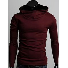 Prezzi e Sconti: #Long sleeve pullover plain hoodie Instock  ad Euro 21.50 in #Burgundy #Mens clothing hoodies