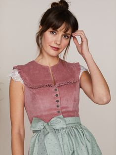 Limberry Dusky Pink Ruffled Dirndl With Two Aprons Dahlia Cord Altrosa With Light Green Night Blue Apron Limberry De In 2020 With Images Dirndl Blue Apron Short Sleeve Dresses