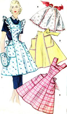 Vintage Sewing Pattern 1950s Simplicity 1358 Ruffled Full Apron or Half Apron and Oven Mitt Size Large Bust 38