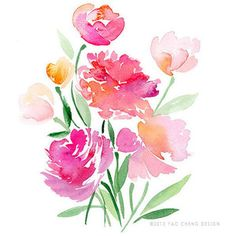 Watercolor flowers © Yao Cheng Design