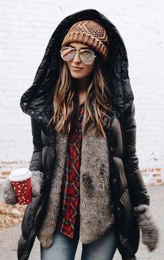 #winter #fashion / Black Puff Jacket + Brown Beanie + Plaid Shirt + Fur Vest