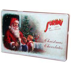 Monille tuttuja italialaisia Sorini maitosuklaakonvehteja hasselpähkinäkerma ja murotäytteellä hienossa peltirasiassa. Christmas Chocolate, Baseball Cards