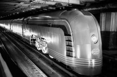 Photographic Print: Angled View of New York Central Railroad Streamlined Mercury Passenger Train Steam Engine : New York Central Railroad, Train Posters, Art Deco, Train Pictures, Steam Pictures, Old Trains, Train Set, Steam Engine, Steam Locomotive