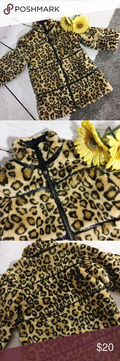 """{THE CHILDREN'S PLACE} Leopard Print Winter Coat Adorable faux fur leopard print winter coat by Children's Place .  Zips up h front ,  Side pockets .   EUC, no flaws . All measurements taken flat .  Size 3T measures shoulder to hem 20"""", armpit up armpit 14"""".  E-22 The Children's Place Jackets & Coats Blazers"""