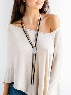 Statement necklace Leather necklace Long necklace Wrapped