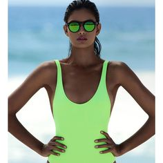 """Elle Magazine su Instagram: """"Designer @karlacolletto makes a splash when it comes to innovative swimwear. For the August ELLE Exclusive, Colletto designed a highlighter green swimsuit that's chlorine-resistant and quick drying. Not to mention gorgeous."""""""