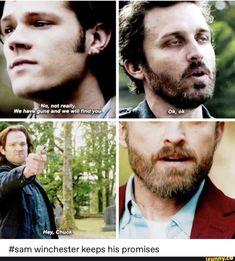 That one time when Sam freaking Winchester shot The God. Supernatural Fans, Castiel, Best Supernatural Quotes, Dean Winchester, Winchester Brothers, Jared Padalecki, Misha Collins, Jensen Ackles, Spn Memes