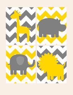 Nursery Decor- Kids Wall Art- Animal Chevron Prints- Gold Yellow Gray- Giraffe Elephant Lion Hippo- Set of 4 Prints- Choose Size Colors