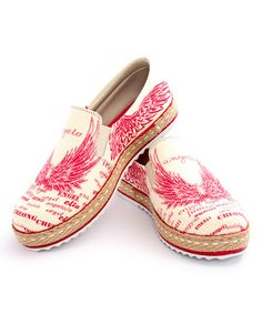 This Red & Ivory Wing Slip-On Espadrille is perfect! #zulilyfinds