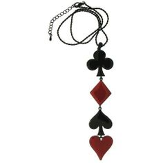 Enamel Poker Necklace, Large In Red And Black with Black Finish GirlPROPS. $4.99. Save 67% Off!