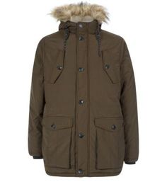 From jeans to joggers, this Khaki Faux Fur Trim Hood Traditional Parka is the perfect cover up this season. £49.99 #newlook #menswear