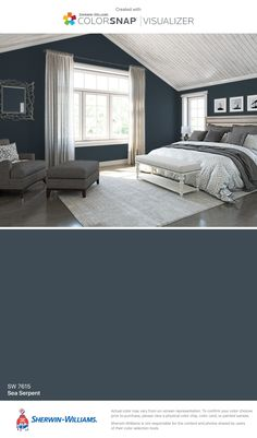 I found this color with ColorSnap® Visualizer for iPhone by Sherwin-Williams: Sea Serpent (SW 7615).
