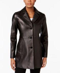 Anne Klein Leather Blazer Jacket