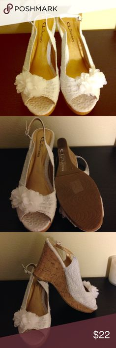 Sandals - worn once 3 inch heel, worn once, eyelet fabric with cute detail - smoke free home Chinese Laundry Shoes Sandals