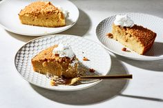 This aromatic, tender cake gets its trademark dense texture thanks to an unusual step of soaking toasted semolina and coconut in coconut milk.