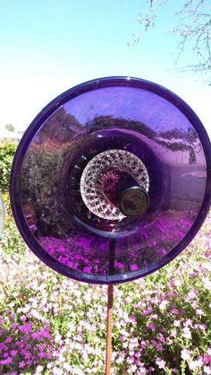 Purple upcycled glass flower Made by Tracy Feltus of Kapunda, SA