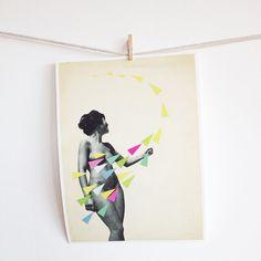 SALE 15 OFF Geometric Art Portrait Female Figure Pop by VioletMay