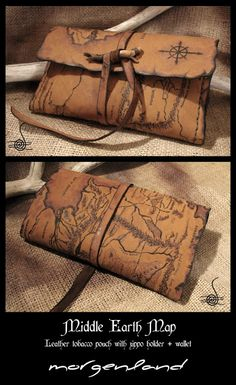 Morgenland Art Unique handmade creations get inspired from the old ages: Middle Earth Map Leather tobacco pouch Leather Carving, Leather Art, Leather Gifts, Leather Books, Custom Leather, Leather Tobacco Pouch, Leather Pouch, Leather Tooling, Leather Purses