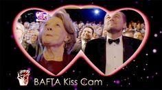 Downton Abbey's Maggie Smith and Leonardo DiCaprio on the BAFTA Kiss Cam ..February 14, 2016..