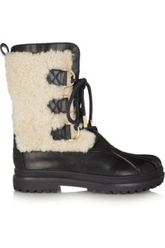 Maybe not in the snow, although they rubber soles...snow makes black leather look so yukky! Tory Burch | Alma shearling and leather boots |