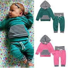 19.98$  Buy here - http://alii52.shopchina.info/go.php?t=32809201071 - 2017 New arrival 0-2years Baby striped Clothes Hoodie Tops T-shirt+Cotton Pants 2pcs suit newborn baby boys girls clothing sets  #shopstyle