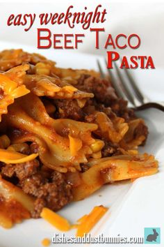 Try this delicious and easy weeknight Beef Taco Pasta! It's so easy to prepare and you probably already have the ingredients on hand!