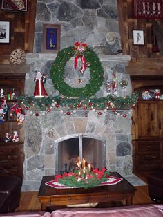 Great Room Fireplace   at Christmas