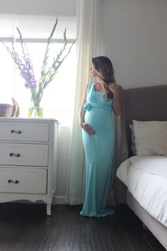 Maternity dress-dress fitted infinity Photo Prop Stretch Jersey Long Maxi Dress Gender Reveal maternity gown-  lined