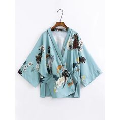 Split Side Tie Waist Floral Kimono (200 SEK) ❤ liked on Polyvore featuring blue