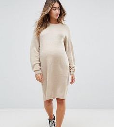 ASOS Maternity Knitted Dress with Crew Neck in Fluffy Yarn - Stone