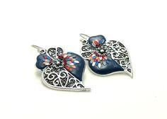 Viana heart earrings blue floral earrings silver by Fankikas